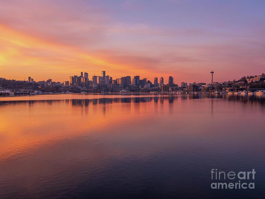 Seattle Golden Sunrise Symmetry Photograph