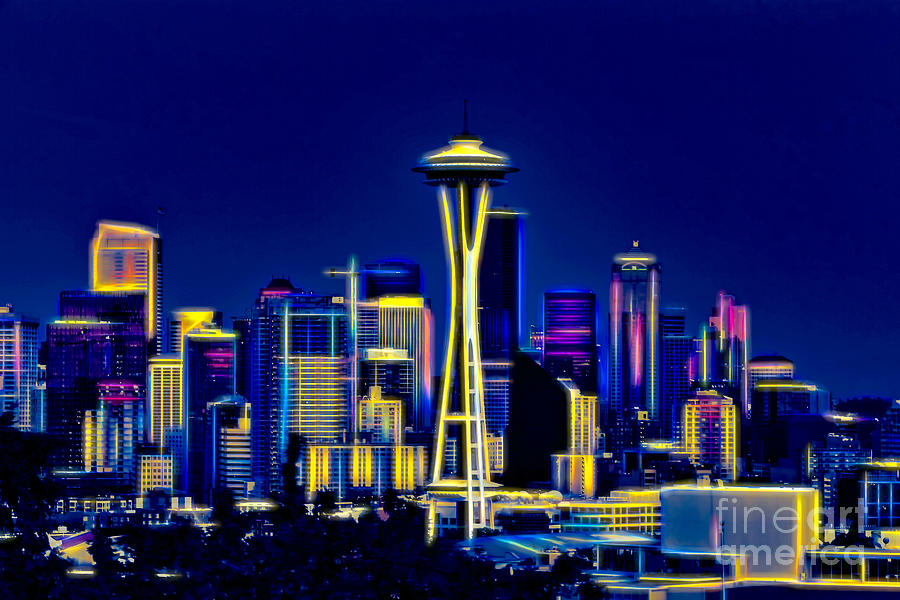 Seattle in Neons Colors by Sal Ahmed