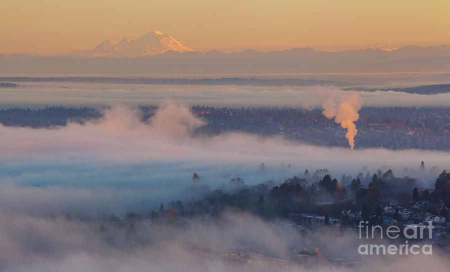 Seattle Misty Layers To Mount Baker Photograph