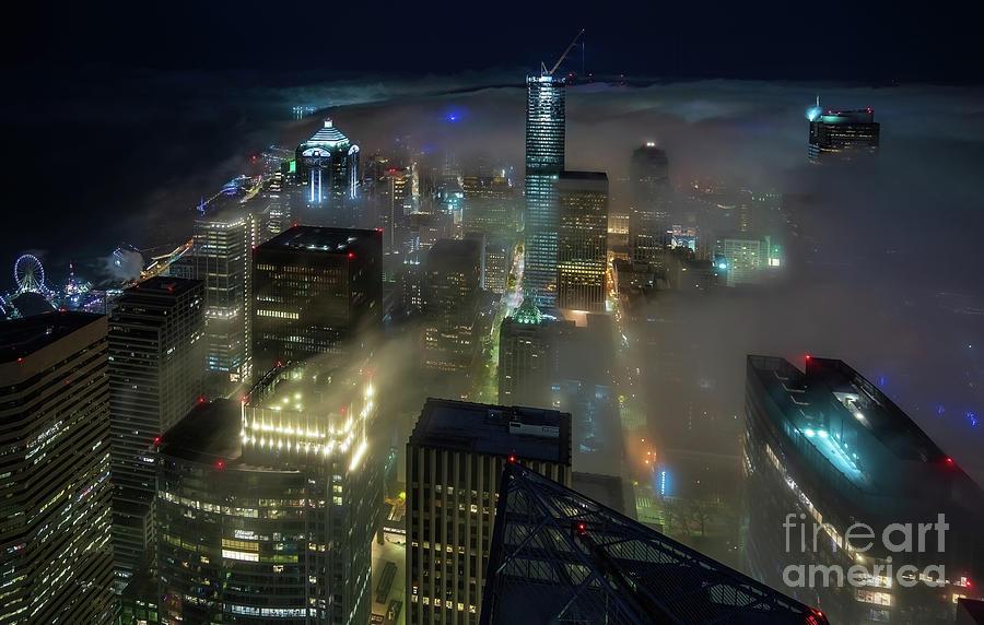 Seattle Photograph - Seattle Night Fog by Mike Reid