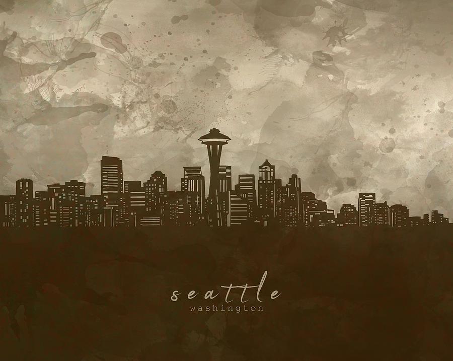 Seattle Digital Art - Seattle Skyline Panorama 4 by Bekim M