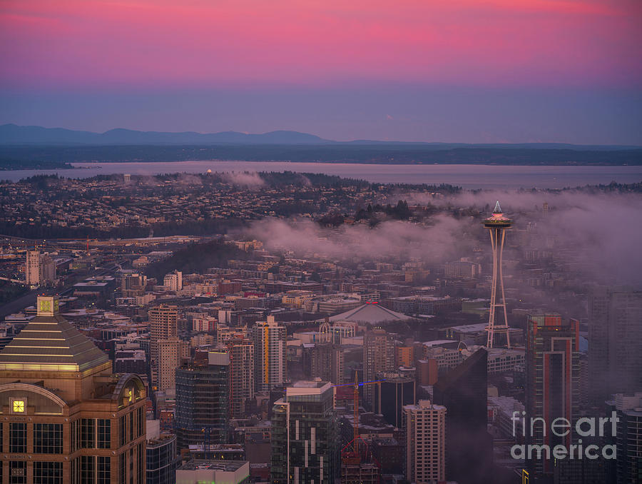 Seattle Photograph - Seattle Skyline Sunrise Light from Above by Mike Reid