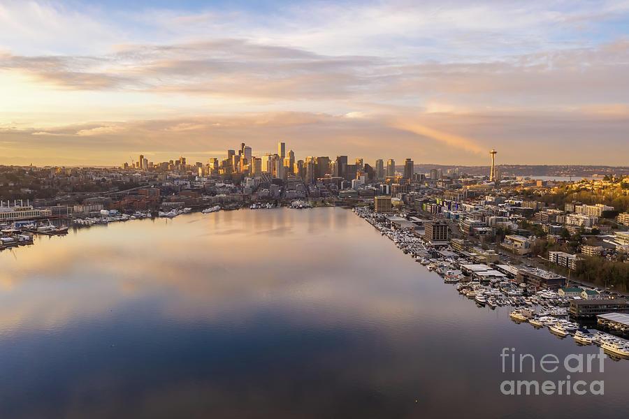 Seattle Sunrise Over Lake Union Photograph