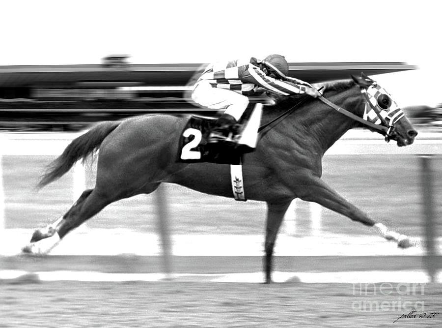 Secretariat Painting - Secretariat, Belmont Stakes, back stretch by Thomas Pollart