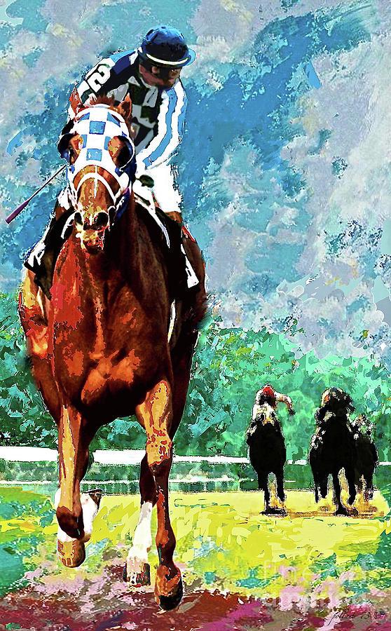 Secretariat Painting -  Secretariat, Belmont Stakes, Looking Back, Triple Crown Champion, 1973 by Thomas Pollart
