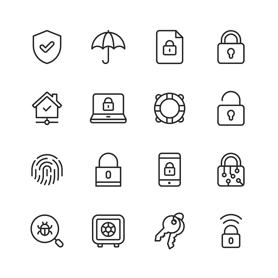 Security Line Icons. Editable Stroke. Pixel Perfect. For Mobile and Web. Contains such icons as Security, Shield, Insurance, Padlock, Computer Network, Support, Keys, Safe, Bug, Cybersecurity. Drawing by Rambo182
