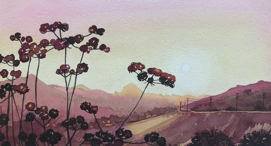 Seedheads And Sugar Loaf Painting