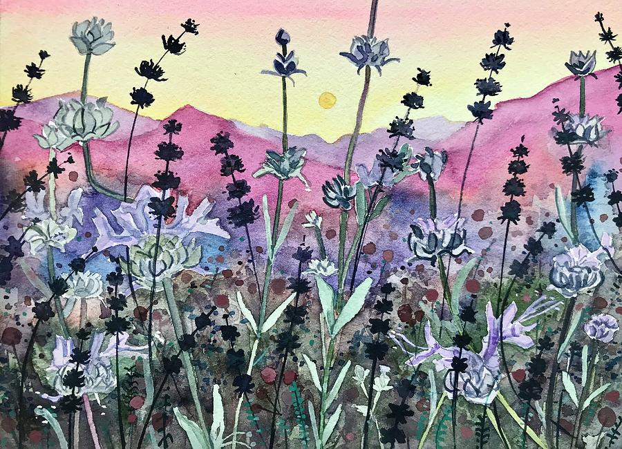 Seedheads At Sunset. Painting