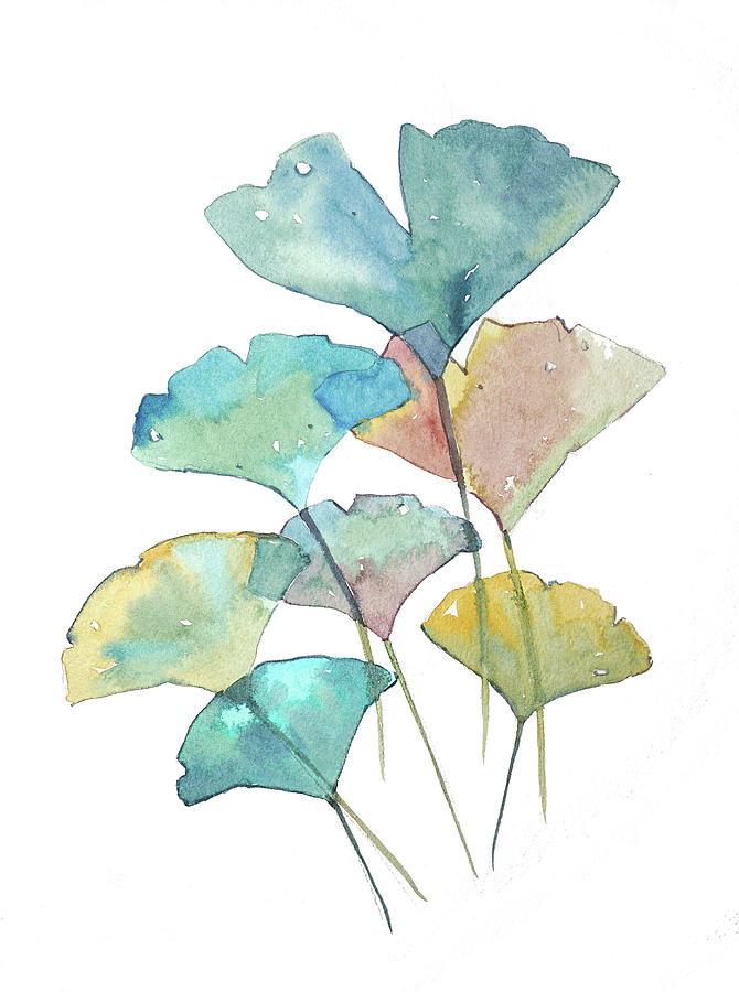 Ginkgo Leafs In Watercolor Painting