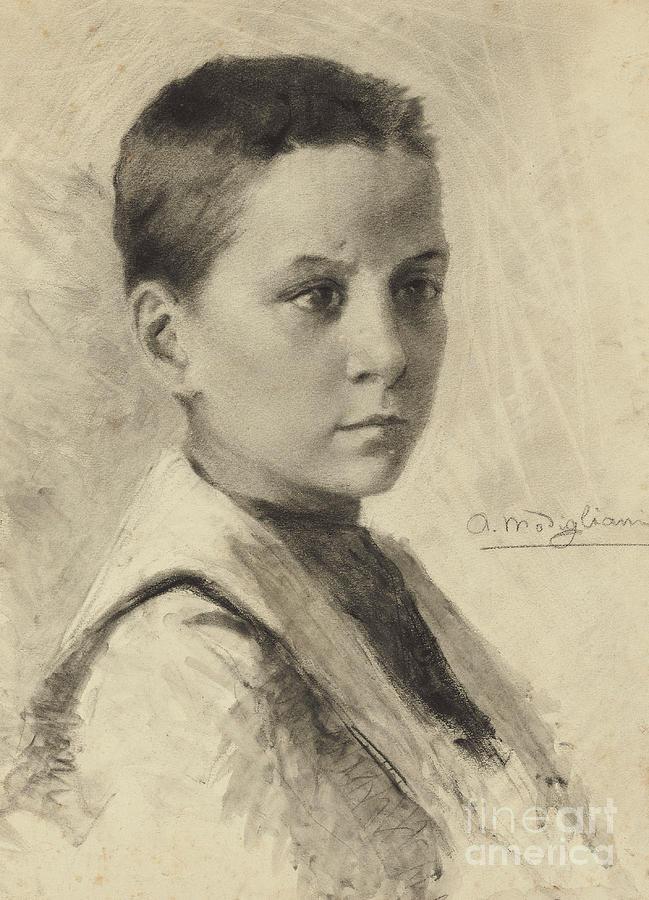 Charcoal Drawing - Self-portrait, 1899 by Amedeo Modigliani