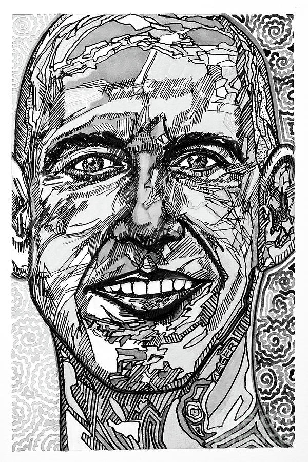 Self Portrait With Abstract Shapes Black And White Version Drawing
