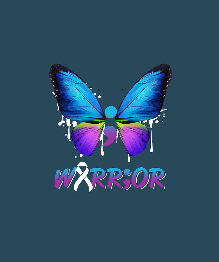Semicolon Butterfly Suicide Prevention Awareness Gift Tshirt Digital Art By Felix
