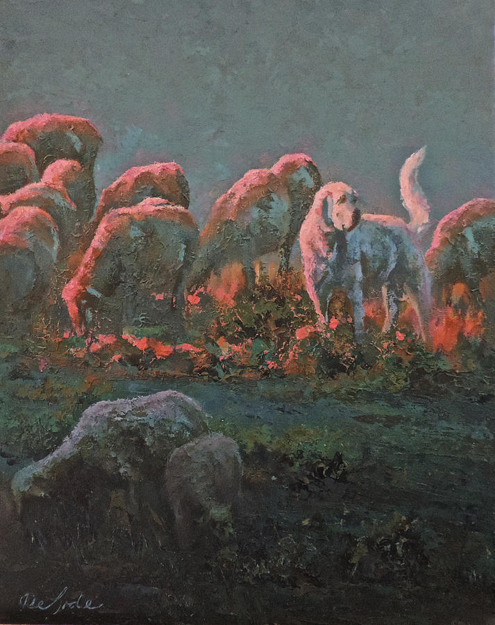 Sheep Painting - Sentinel by Mia DeLode