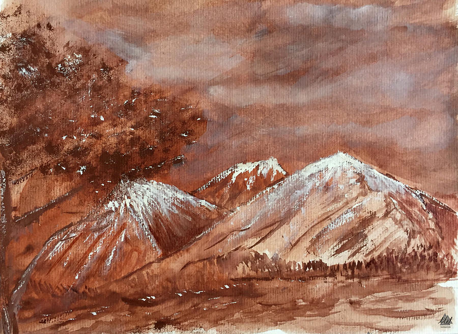 Sepia Style Landscape Painting