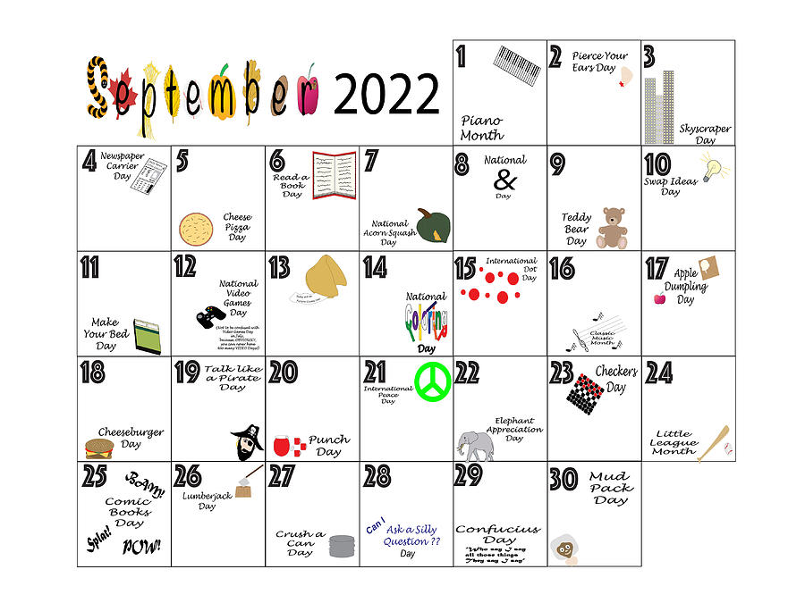 September 2022 Quirky Holidays And Unusual Celebrations Photograph