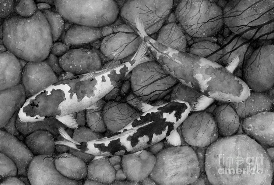 Serenity Koi In Black And White Painting