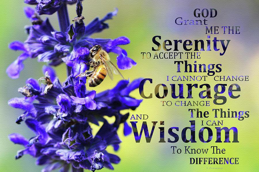 Serenity Prayer Painting - Serenity Prayer - Honey Bee Flower Art - Sharon Cummings by Sharon Cummings