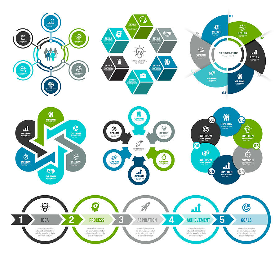 Set of Circle Infographic Elements Drawing by Artvea