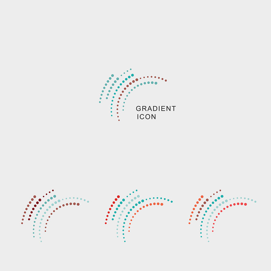 Set Of Gradient Curve Dots Icon Drawing by Shuoshu