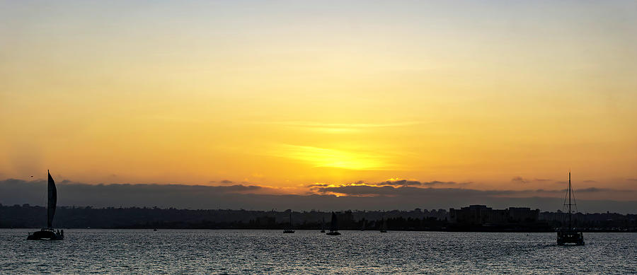 Setting sun over San Diego Bay by Cathy Anderson