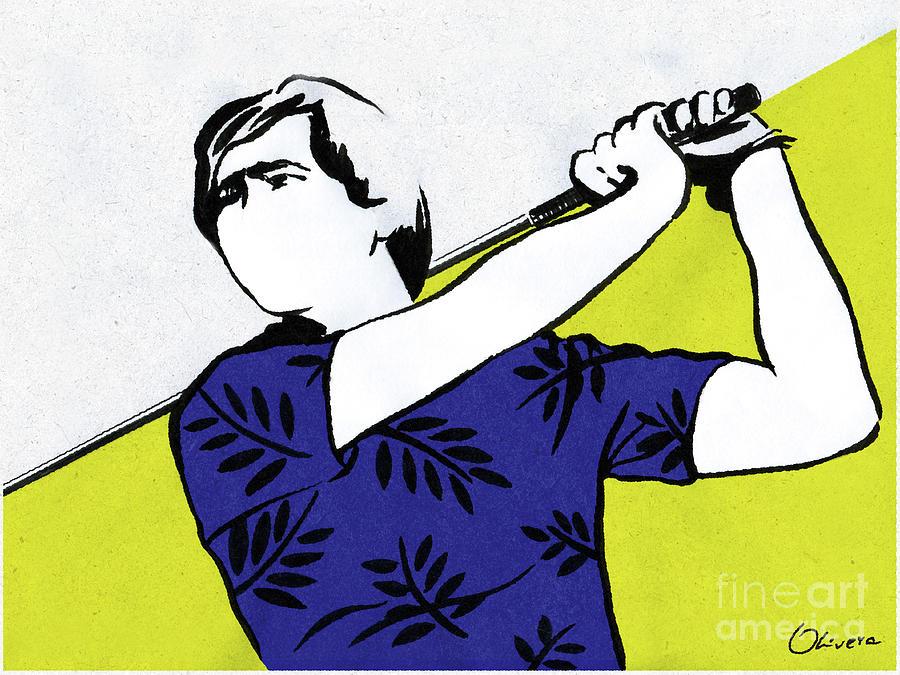 Golfer Painting - Seve - Swing 2 by Olivera Cejovic