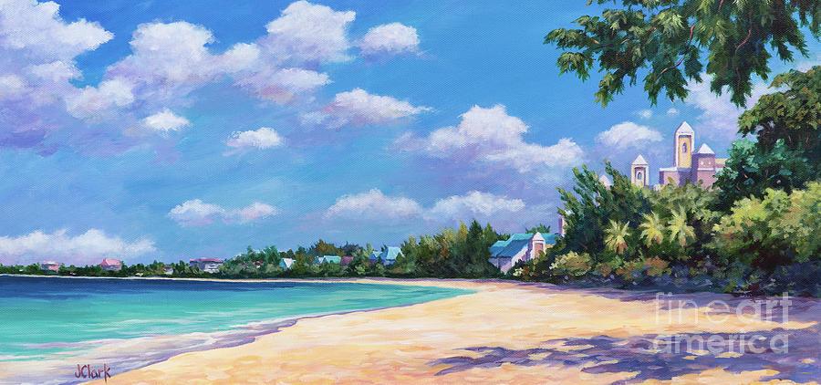 Cayman Painting - Seven Mile Beach and Ritz Carlton by John Clark