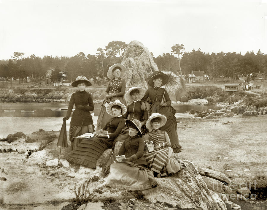 Seven Victorian Ladies out on Lovers Point looking over the beach 1885 by California Views Archives Mr Pat Hathaway Archives