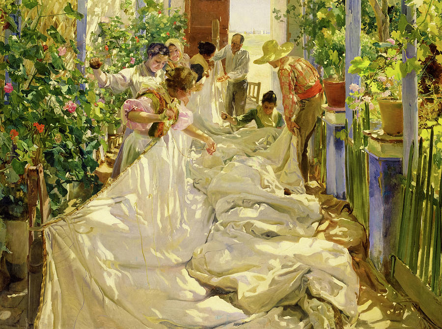 Sewing Painting - Sewing the Sail by Joaquin Sorolla