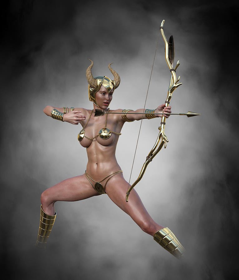 Sexy Female Archer With Golden Bow And Arrow 1 Digital Art