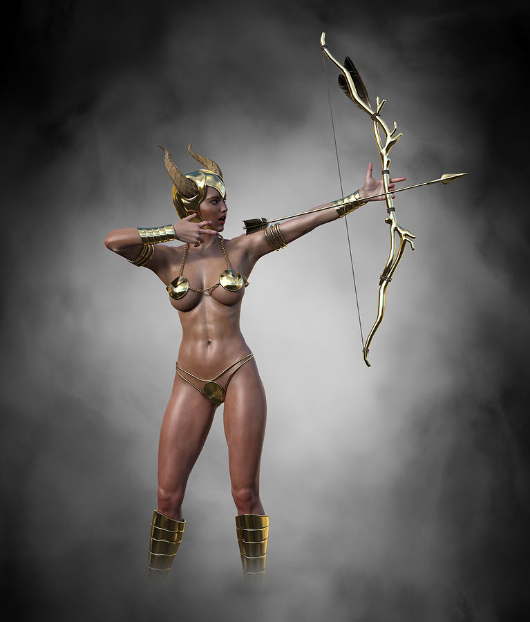 Sexy Female Archer With Golden Bow And Arrow 2 Digital Art