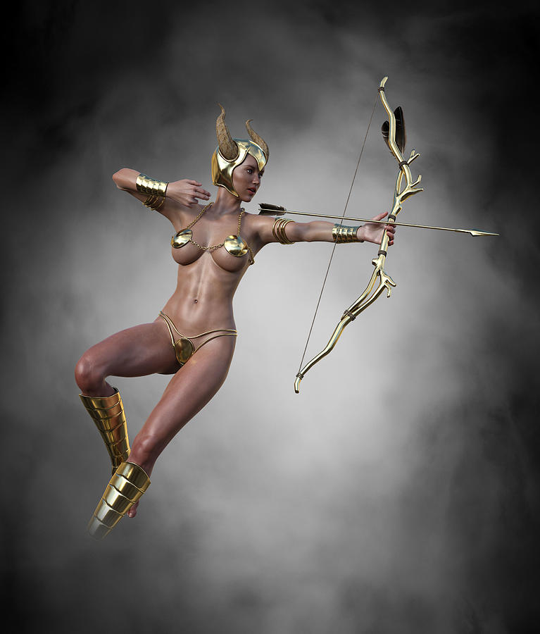 Archer Digital Art - Sexy Female Archer with Golden Bow and Arrow 3 by Barroa Artworks