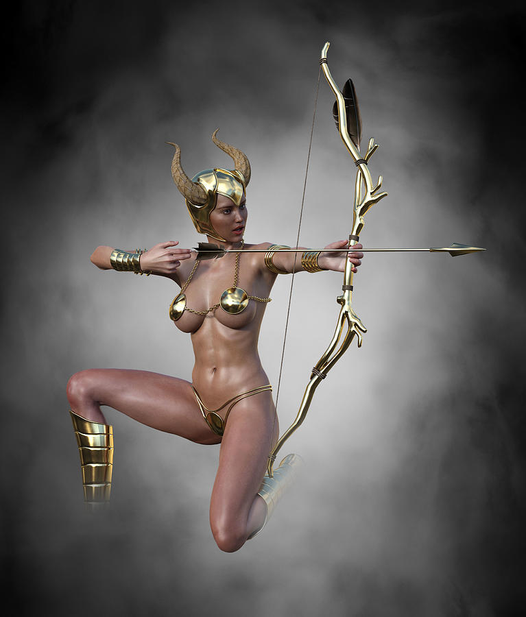 Sexy Female Archer With Golden Bow And Arrow 5 Digital Art