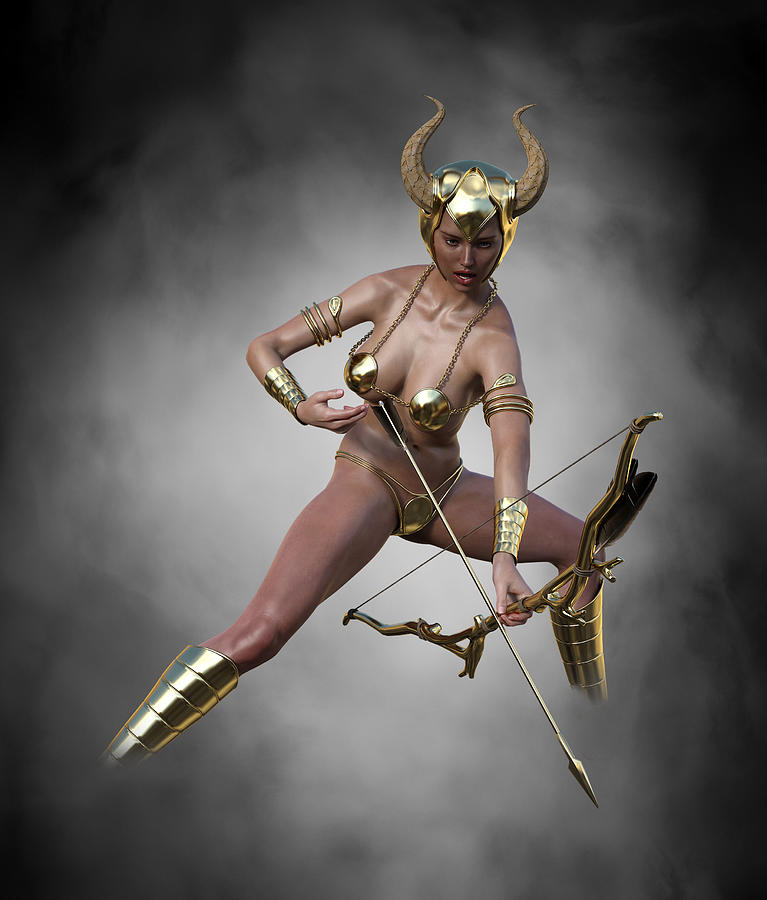 Sexy Female Archer With Golden Bow And Arrow 6 Digital Art