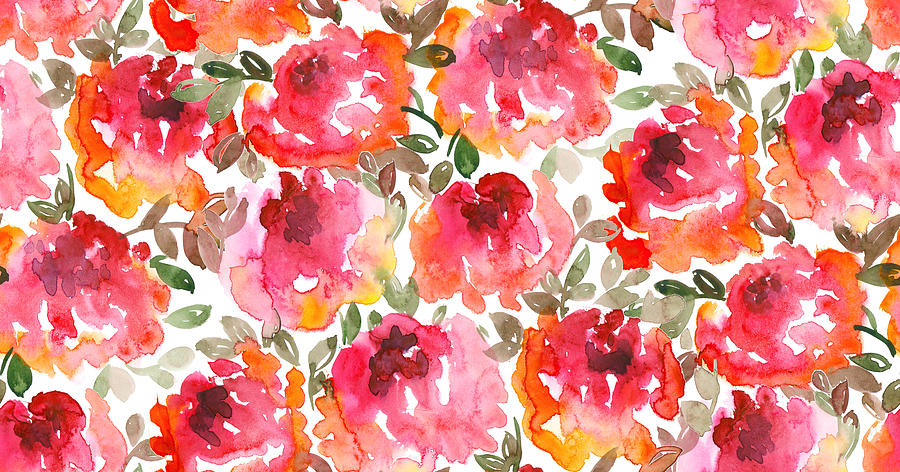 Shabby Loose Style Red Roses Seamless Pattern Photograph