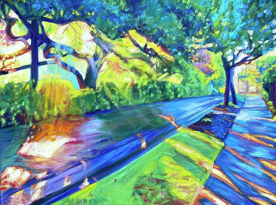 Neighborhood Painting - Shade and Sunshine by Bonnie Lambert
