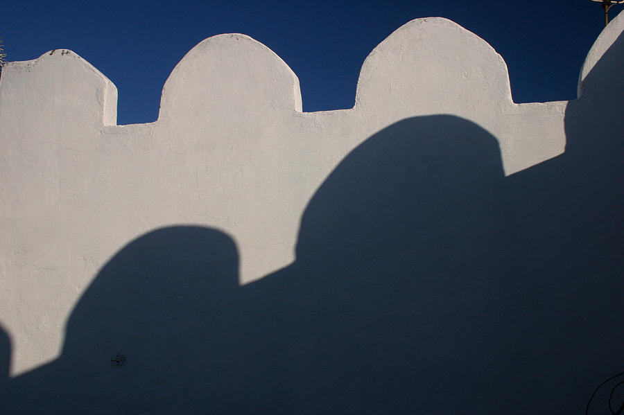 Architecture Photograph - Shadows on the wall of a roof terrace in Tangier Morocco by PIXELS  XPOSED Ralph A Ledergerber Photography