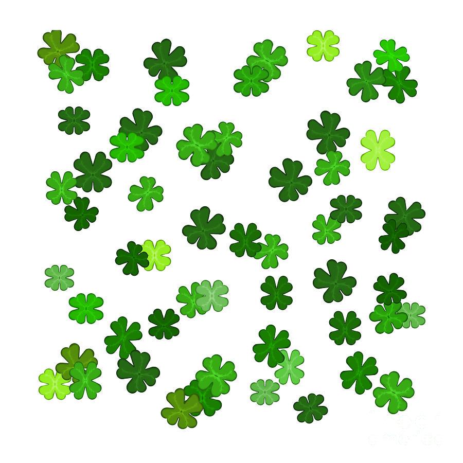 Saint Patricks Day Digital Art - Shamrocks Falling - Pattern for Saint Patricks Day by Colleen Cornelius