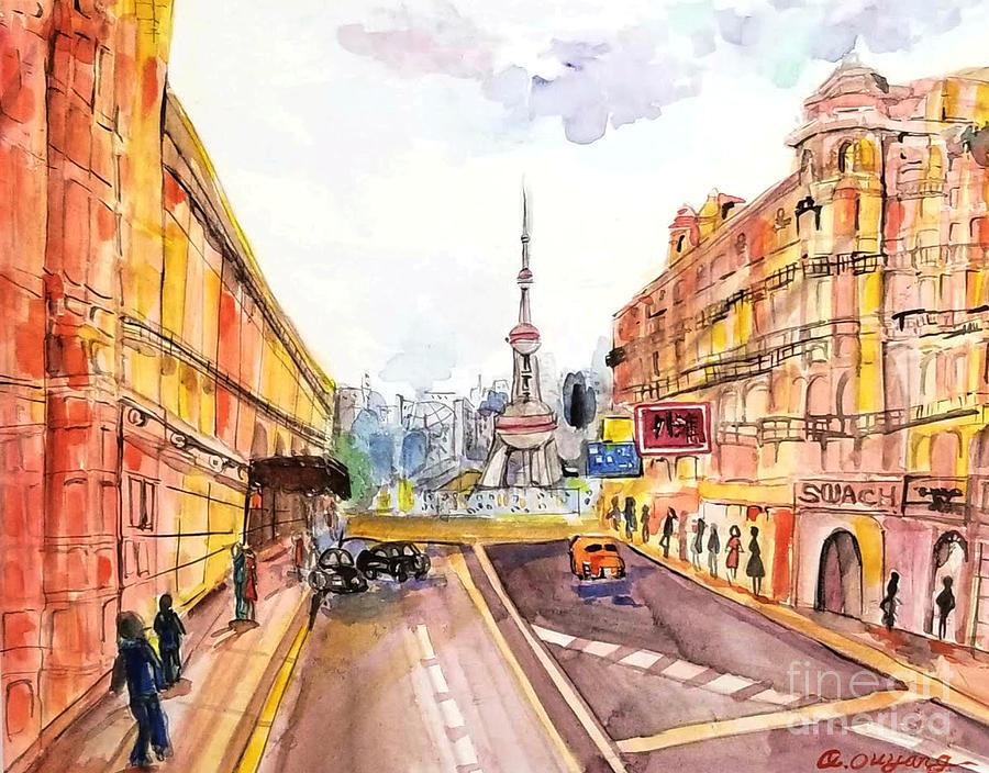 Watercolor Painting - Shanghai Peal TV Tower by AQQ Studio