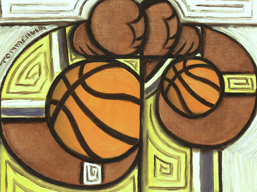 Lakers Painting - Shaq And Kobe Art Print by Tommervik