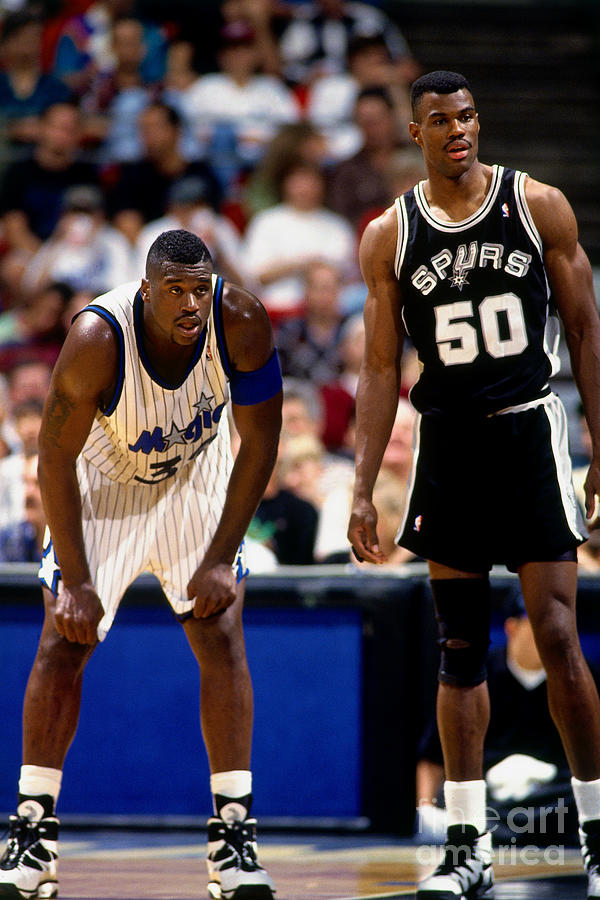 Shaquille Oneal and David Robinson Photograph by Fernando Medina