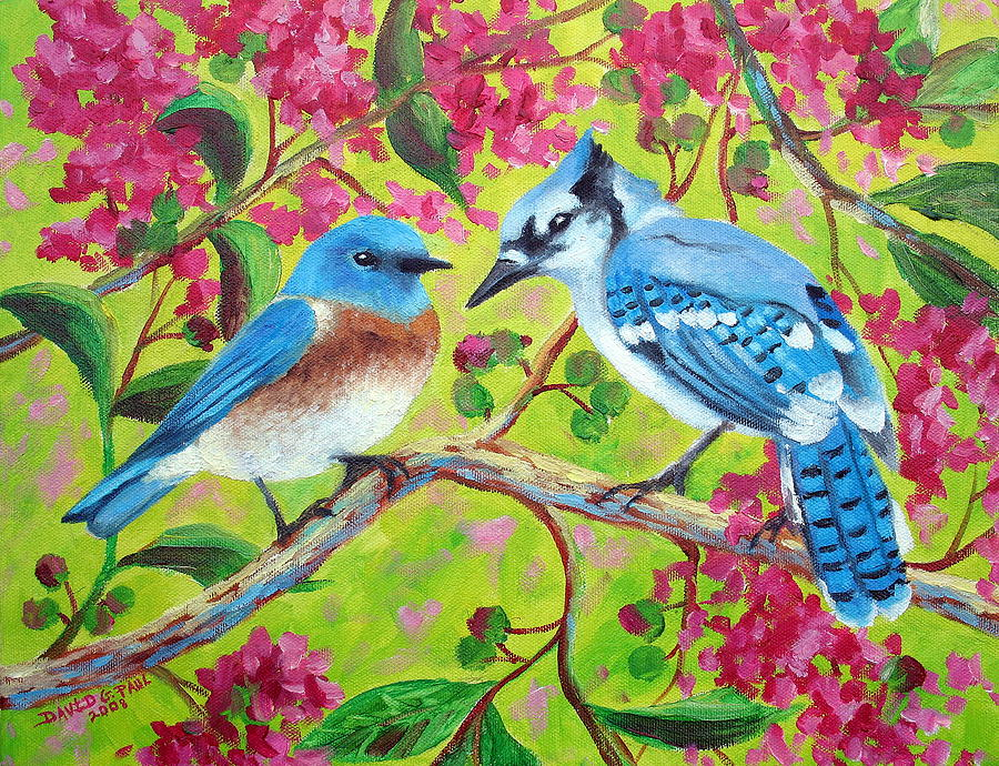 Birds Painting - Sharing A Branch by David G Paul