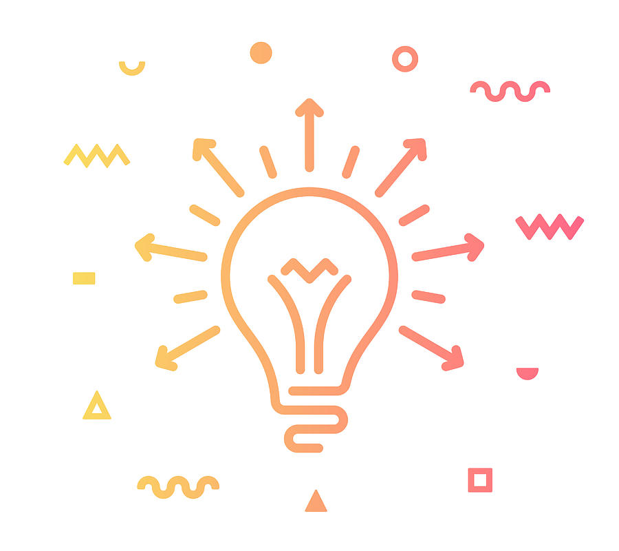 Sharing Ideas Line Style Icon Design Drawing by Denkcreative