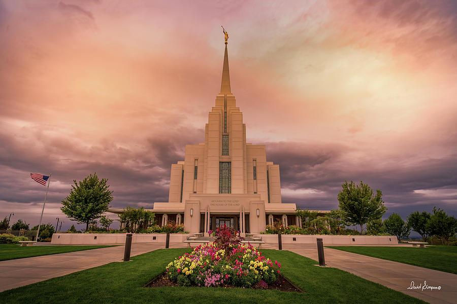 Rexburg Temple Photograph - Sharing Service by David Simpson