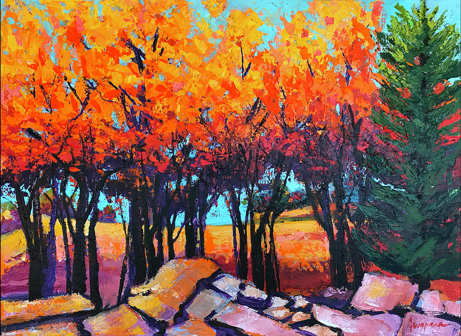Sharing the Light Colorful Forest Painting by Patricia Awapara
