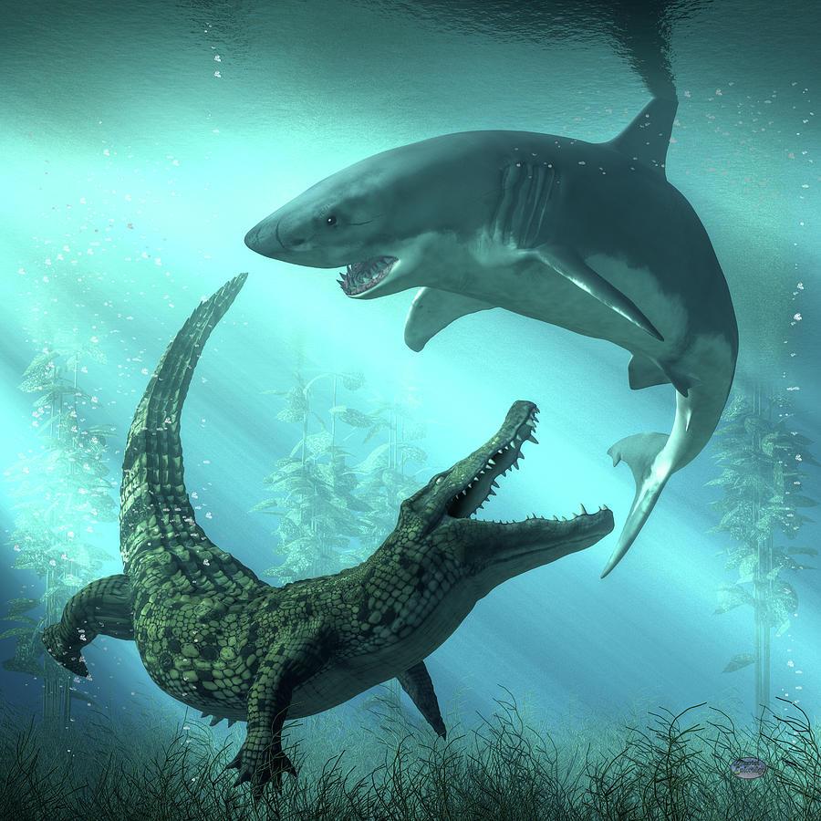 Shark Vs Crocodile Digital Art