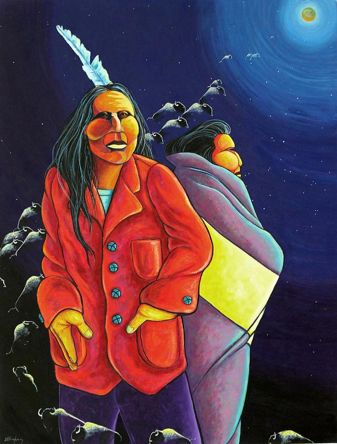 American Indian Painting - Sharred Vision - Return of the Buffalo by Joe  Triano