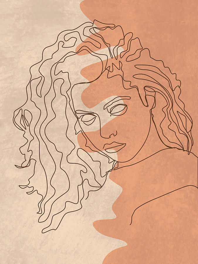 She Is Fierce - Contemporary, Minimal Portrait 5 - Brown Mixed Media