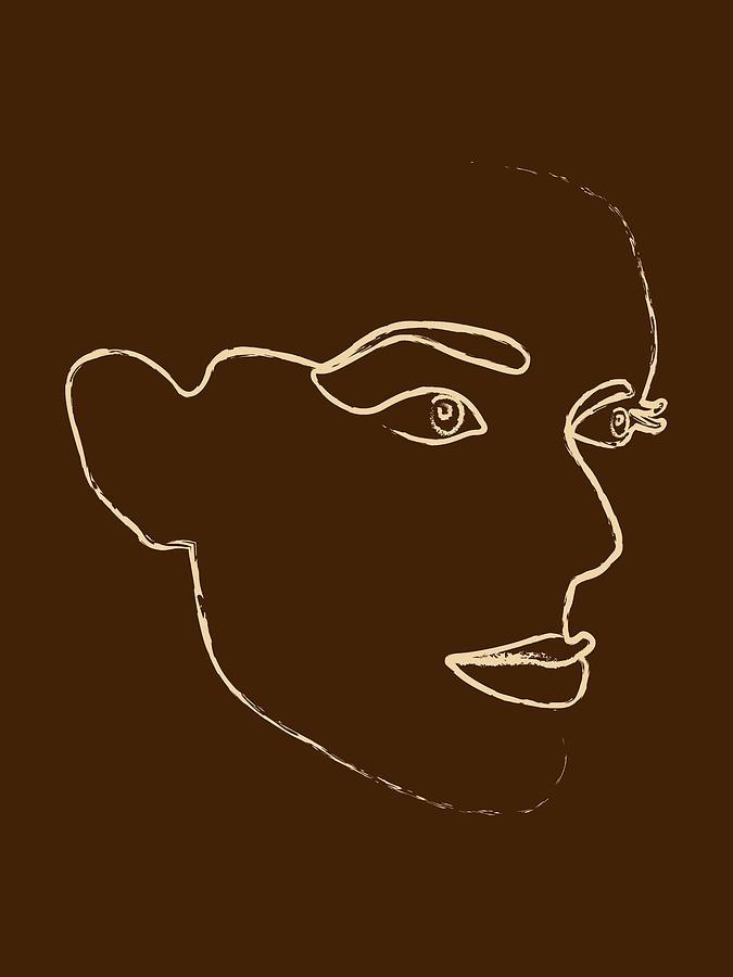 She Is Fierce - Minimal Line Art Portrait - Single Stroke Mixed Media