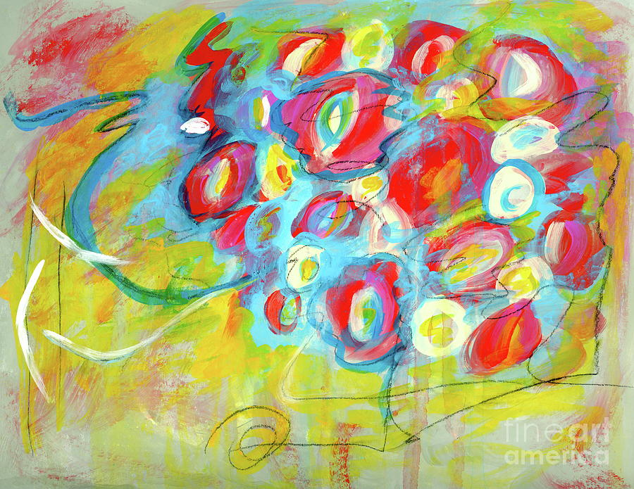 Abstract Flowers Painting - She Used to be a Good Girl, Abstract Flowers Painting by Itaya Lightbourne