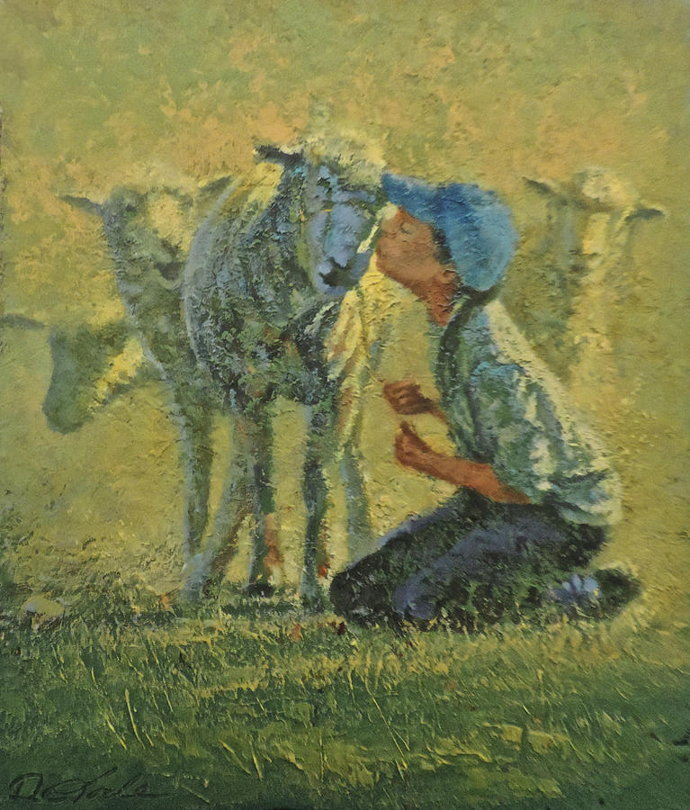 Sheep Painting - Sheepish Kiss by Mia DeLode